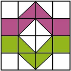 Free Quilt Block - Ziggy - you could get movement with flipping the last column pink and green. Joining blocks may be interesting. Quilt Block Patterns 12 Inch, Quilt Blocks Easy, Scrap Quilt Patterns, Easy Quilts, Pattern Blocks, Quilting Tips, Quilting Projects, Quilting Designs, Machine Quilting
