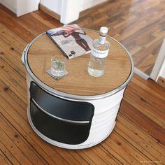 """Oil drum Couch table """"BOB"""". Ölfass Couchtisch aus einem halben Fass. Danke an schoenhaesslich.de für das Foto"""
