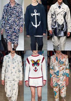 Menswear Spring/Summer 2016 Catwalk Print & Pattern Trend Highlights Part 2 - Oceanic - Jil Sander / No.21 / Antonio Marras / Alexander McQueen / Gucci /Alexander McQueen