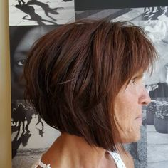 Brown-Layered-Angled-Bob Bob Hairstyles for Women Over 50 – Be Hot And Happening Bob Haircut With Bangs, Haircut For Older Women, Bob Haircuts For Women, Older Women Hairstyles, Hot Haircuts, Modern Hairstyles, Popular Haircuts, Short Bob Hairstyles, Everyday Hairstyles
