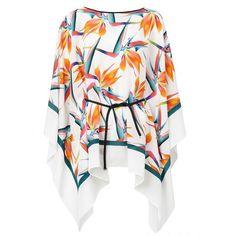 Fendi Bird of Paradise Print Kaftan (1,315 CAD) ❤ liked on Polyvore featuring tops, tunics, black, boat neck tops, loose tops, kaftan tunic, silk tunic and boatneck top