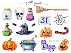 This listing is for 1 sheet of colorful Halloween stickers. Perfect for your planner or decorating DIY greeting cards and other craft projects! Halloween Templates, Halloween Doodle, Halloween Drawings, Halloween Images, Halloween Stickers, Holidays Halloween, Happy Halloween, Halloween Decorations, Advent
