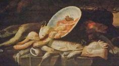 ELENA RECCO ( attiva a Napoli tra la fine del '600 e l'inizio del '700 ). NATURA MORTA DI PESCI CON VASSOIO AL CENTRO E GRANDE GRANCHIO SULLA DESTRA. olio su tela. 97 × 134 cm.