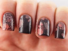 Spektor's Nails: Tricolor Brown & Blue Water Spotted Nails