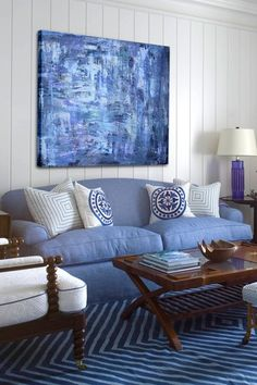 "Sea of Blue Hand Embellished Gallery Wrapped Canvas Wall Art - 40"" x 30"" on HauteLook"