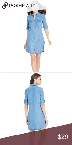 Jut from the Cloth Denim Shirtdress Casual just got cooler. This stylish shirtdress in on-trend denim is so effortless and just as fashionable. Dress up with a lively scarf or jewelry. Kut from the Kloth Dresses Midi