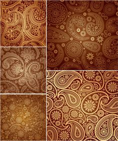 Paisley Pattern | paisley patterns vector set of 5 ornate vector paisley patterns for ...