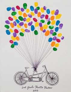 2nd Grade thumb prints with bicycle built for 2 for School Silent Auction