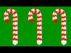 How to Make Loom Bands Christmas Candy Cane Rainbow Loom Christmas Charms - YouTube
