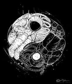 Yin e yang Ying Yang, Yin And Yang, Yin Yang Art, Astronaut Tattoo, Astronaut Drawing, Space Illustration, Art Graphique, Art Drawings, Drawing Art