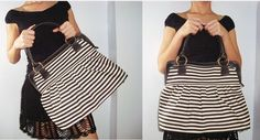 Handbag, Diaper bag,  Women bag, Travel bag, Black white denim handbag. $45.00, via Etsy.