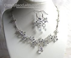Swarovski Necklace and Earrings, Silver Metalic Flower Swarovski Crystal Silver Necklace and Matchin
