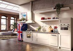 Aranżacja oryginalnej kuchni otwartej na salon. Stylowa lodówka w kuchni - pomysły na wystrój. Oryginalny asortyment gospodarstwa domowego. Union jack.