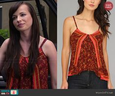 Jenna's red printed cami on Awkward.  Outfit Details: http://wornontv.net/40742/ #Awkward