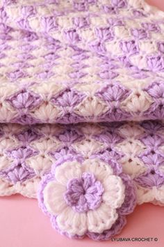 Crochet Pattern Baby Blanket Lilac Lily, Tutorial Crochet Baby Blanket Puff Stitch, Instant Download PDF Lyubava Crochet Pattern number 004-can buy patterns from ETSY