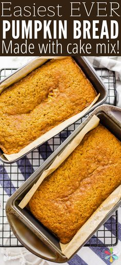 Easy Pumpkin Bread Recipe: It's Made with Cake Mix! Easy homemade pumpkin bread recipe made with cake mix! You can use yellow, white or spice cake mix for the best flavors, and adding nuts or chocolate chips makes it even better! Spice Cake Mix Recipes, Recipes Using Cake Mix, Pumpkin Cake Recipes, Recipes With Canned Pumpkin, Bread Recipes, Breakfast And Brunch, Brunch Cake, Spice Cake Mix And Pumpkin, Yellow Cake And Pumpkin Recipe