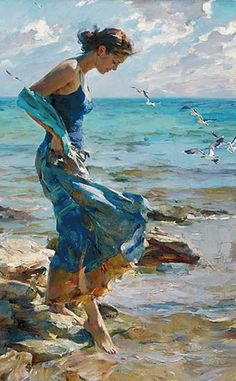 Allure Revisit a Garmash Original Painting available from J Watson Fine Art 661 your source for beautiful Michael and Inessa Garmash original paintings and limited edition artwork. Oil Painting On Canvas, Figure Painting, Painting & Drawing, Canvas Art, Diy Painting, Large Canvas, Painting Trees, Painting Classes, Blue Painting