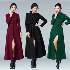 2017 Hot Fashion women long coat single breasted wool coat plus size stand collar autumn winter jacket and coats woolen trench Long Overcoat, Coat Stands, Cashmere Coat, Wool Coat, Wool Blend, Winter Jackets, Bridesmaid Dresses, Plus Size, Clothes For Women