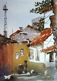 Por amor al arte: Mineke Reinders Watercolor Landscape, Watercolor And Ink, Watercolor Illustration, Watercolour Paintings, Watercolours, Water Pictures, Barn Art, Urban Sketching, Painting Videos
