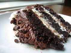 Chocolate Layer Cake with Cream Cheese Filling and Chocolate Buttercream #chocolatecake #cake #buttercream