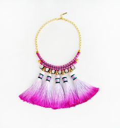 Tassel Choker necklace, Coral & Stone