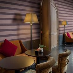 Traditional wallpaper / linen / striped MANHATTAN Omexco