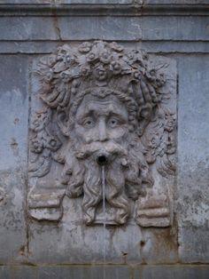 Granada, Spain: Alhambra: Charles V fountain, allegorical mask