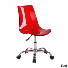 @Overstock.com.com - Acrylic Modern Office Chair - Opaque acrylic and a simple, modern design makes this office chair a versatile and fun addition to any space. This office chair is as unique as it is comfortable with casters and an adjustable seat.  http://www.overstock.com/Home-Garden/Acrylic-Modern-Office-Chair/7539099/product.html?CID=214117 $34.99