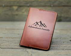 Gift for men / Mens gift / Personalized Passport holder /Leather Passport holder / Mountain / Wanderlust Mountain - Passport Wallet, Passport Cover, Back To School Gifts, Travel Gifts, Corporate Gifts, Inspirational Gifts, Couple Gifts, Etsy, Wallets