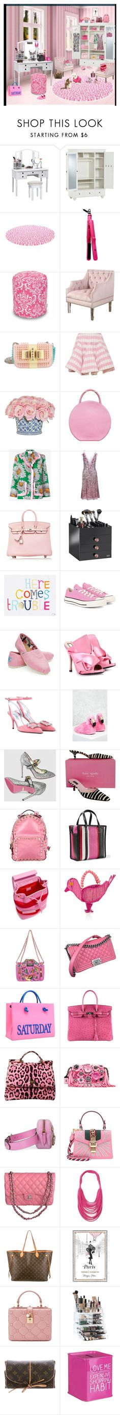 """Pink dressing room"" by deborah-518 ❤ liked on Polyvore featuring interior, interiors, interior design, home, home decor, interior decorating, PBteen, Brilliance New York, Abbyson Living and Christian Louboutin"