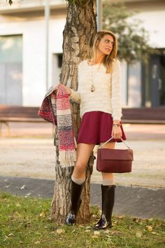 Burgundy skirt and cream sweater with gumboots