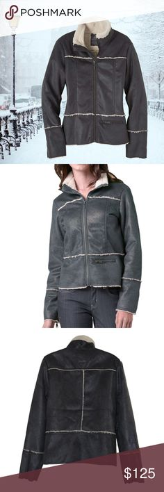 Prana Women's Esme Faux Sherpa Suede Jacket ✔This soft prAna Esma Jacket is mindfully designed and built to last, for sport, life, travel & adventure. ✔Embossed faux suede cloth with bonded Sherpa interior, Full front zip jacket, Zipper details at front, pocket and sleeve cuffs. ✔Material & care: 100% Polyester, Machine wash cold gentle cycle, hang to dry ✔Size: Large (please see photos for waist, chest, sleeve, elbow, cuff and hem circumference and other measurements).   ✔Color: Grey…