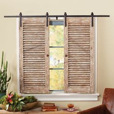 Barnwood Sliding Shutter Set - A Lone Star Western Decor exclusive - Wood shutters attach to a sliding steel bar, bringing Old West style to your room. 59 x 1 x 42 ~Ships from the manufacturer. Farmhouse Window Treatments, Decor, Home Diy, Interior Windows, Rustic House, Interior Barn Doors, Home Remodeling, Sliding Shutters, Home Decor