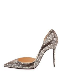 Iriza+Lame+100mm+Red+Sole+Pump,+Silver+by+Christian+Louboutin+at+Neiman+Marcus.