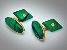 Vintage Russian Gold and Malachite Cufflinks from romanovrussia on Ruby Lane