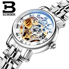 BINGER Hollow Out Mechanical Women Wristwatch Sapphire full Stainless Steel Clock