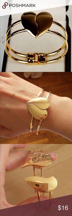 (i3) Heart Bangle 14k gold plated bracelet. New in package Jewelry Bracelets