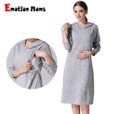 c6ede0ee27652 Emotion Moms Long Sleeve Pregnancy Maternity Clothes Nursing Clothing  Breastfeeding Dresses For Pregnant Women Maternity Dress