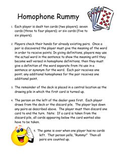 This is a fun little card game for extra work with homophones. Can be used during centers with anywhere from 2-6 players.