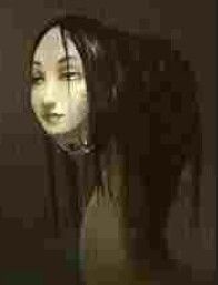 "In Japanese folklore, a nure-onna our ""wet woman"" is a yōkai which resembles an amphibious creature with the head of a woman and the body of a snake. While the description of her appearance varies slightly from story to story, she has been described as being 300 m in length and has snake-like eyes, long claws, fangs and long, beautiful hair. She is typically spotted on a shore, washing her hair."