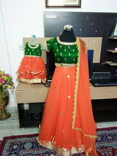 Mom and Baby Mommy Daughter Dresses, Mom And Baby Dresses, Mother Daughter Dresses Matching, Mother Daughter Fashion, Dresses Kids Girl, Mom Daughter, Kids Outfits, Mother Daughters, Red Lehenga