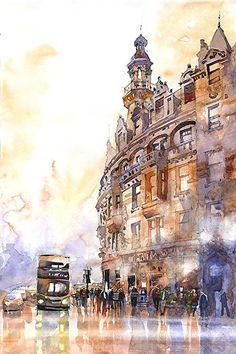 Charing Cross Glasgow - by Iain Stewart. Watercolor