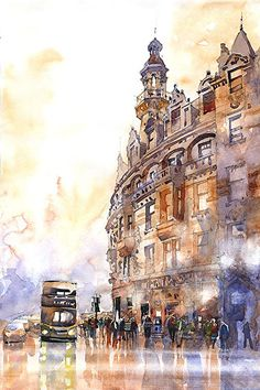 Charing Cross Glasgow - by Iain Stewart. Watercolor