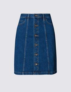 Denim Button Through A-Line Mini Skirt | Marks & Spencer London