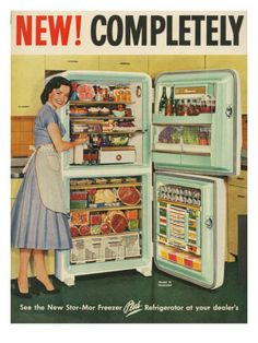 Retro housewife photo - vintage photo of woman showing off her refrigerator.that's a lot of meat. Pub Vintage, Photo Vintage, Vintage Diy, Vintage Images, Vintage Kitchen, Vintage Posters, Vintage Cooking, Vintage Fridge, Vintage Refrigerator