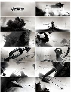 This 'Avengers' title sequence is illustrated in black and white. Through the grid-like frames, the audience gets a glimpse into the theme and feel of the movie. These individual images show different angles, closeup shots that are extremely focused and long shots that set the scene, putting everything into perspective.