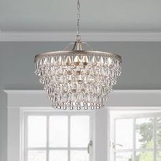 Rosdorf Park Bramers 6 - Light Unique / Statement Tiered Chandelier with Crystal Accents Bathroom Chandelier, Farmhouse Chandelier, Luxury Chandelier, Globe Chandelier, Luxury Lighting, Master Bedroom Chandelier, Crystal Chandeliers, Modern Chandelier Lighting, Bathrooms With Chandeliers