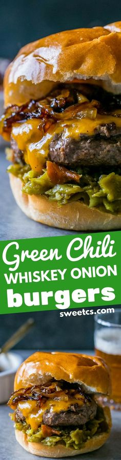 Green chili whiskey onion burgers – these are the most delicious burgers EVER! Gourmet Burgers, Beef Burgers, Burger Recipes, Meat Recipes, Cooking Recipes, Grilling Recipes, Recipes Dinner, Bbq Burger, Icing Recipes
