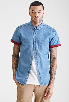 Cuffed Chambray Shirt | 21 MEN | #f21men
