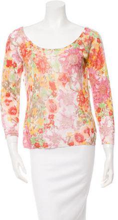 Etro Silk Floral & Polka Dot Print Sweatshirt Polka Dot Print, Polka Dots, Printed Sweatshirts, Hoodies, Scoop Neck, Floral Prints, Silk, Stylish, Long Sleeve
